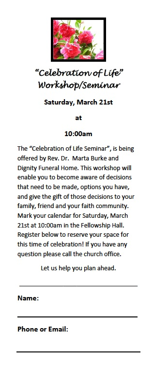 Celebration of Life flyer