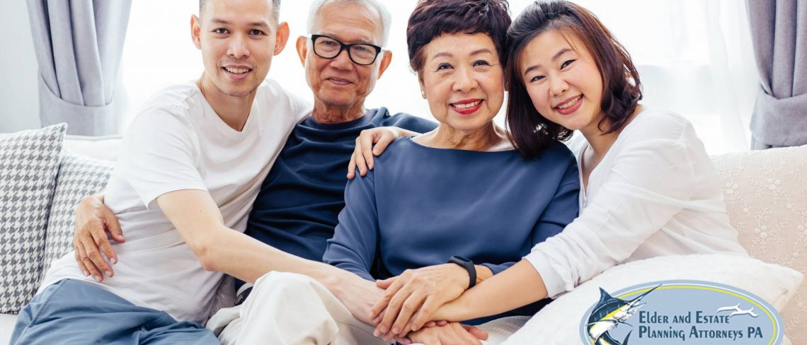 estate planning lawyer - Asian family of elderly parents and adult children